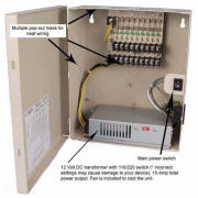 12V DC Power Distribution Box, 9 Ports, 10 Amps, UL Listed
