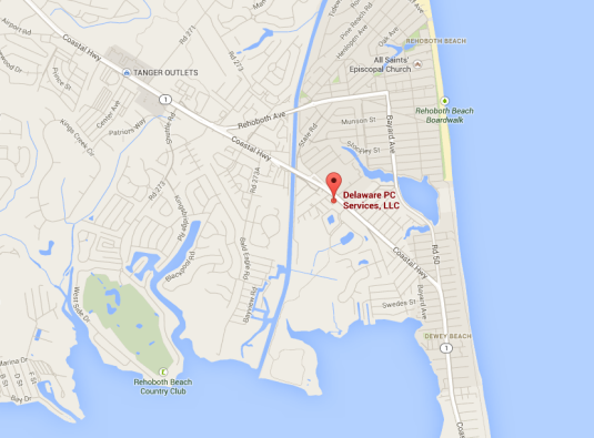 Map to Delaware PC Services in Rehoboth Beach Delaware